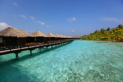 Beautiful wooden houses in Maldives Stock Photo