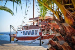 Beautiful wooden motor yacht at the marina on a sunny day Royalty Free Stock Photography