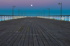 Beautiful wooden pier on Baltic sea shore Stock Photography