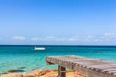 Beautiful wooden pier on beach at Monnok island. Rayong, Thailand Stock Image