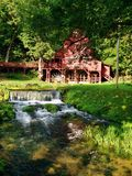 Red water mill in missouri stock image