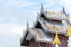 Beautiful wooden roof of temple .wat phra that doi kong mu the b Royalty Free Stock Photography