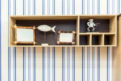 Beautiful wooden shelf Royalty Free Stock Photos