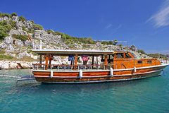Beautiful wooden ship near Kekova, Turkey Stock Photo