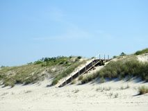 Wooden stairs going to sea, Lithuania stock images
