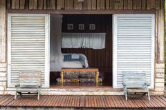 Beautiful Wooden Terrace Or Balcony With Two Chair Near Beach, , Thailand