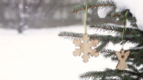 Beautiful wooden toy in the form of snowflakes stock footage