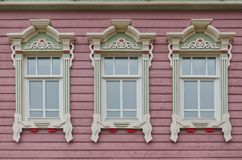 Beautiful wooden windows in an old hous royalty free stock photos