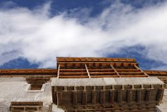 Beautiful wooden work on windows and balcony in Leh Palace Stock Images
