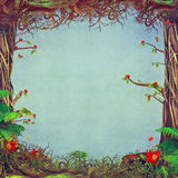 Beautiful woodland scene with blue background in centre Royalty Free Stock Photos