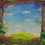 Beautiful woodland scene, illustration art Royalty Free Stock Photography