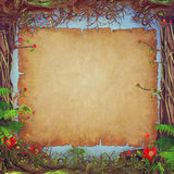 Beautiful woodland scene with parchment paper background in centre Stock Image