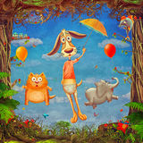 Beautiful woodland scene of spring frame with cute animals in cloudy sky Royalty Free Illustration