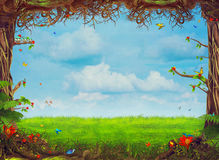 Beautiful woodland scene with trees , grass, butterflies   and clouds Royalty Free Stock Photo