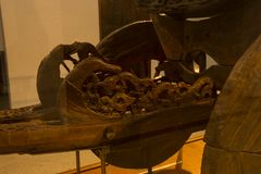 Beautiful Woodwork in ancient wagon at viking ship museum royalty free stock photography