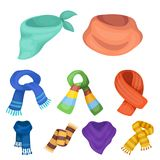scarves and shawles icon in set collection on cartoon style Royalty Free Stock Photo