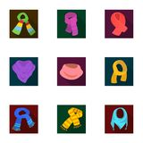 Beautiful woolen, silk-colored warm scarves of shawls. scarves and shawles icon in set collection on flat style vector. Symbol stock web illustration Stock Photos
