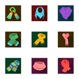Beautiful woolen, silk-colored warm scarves of shawls. scarves and shawles icon in set collection on flat style vector. Symbol stock web illustration Royalty Free Stock Photos