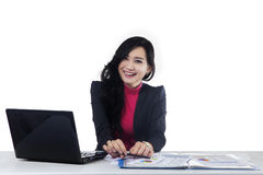 Beautiful worker with laptop on desk Royalty Free Stock Photo
