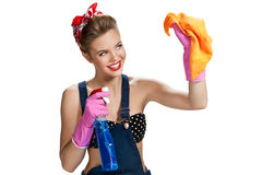 Free Beautiful Worker Wearing Pink Rubber Protective Gloves Holding Cleaning Spray Bottle And Orange Microfiber Cloth Stock Photo - 52093370