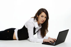 Beautiful working girl Royalty Free Stock Photos