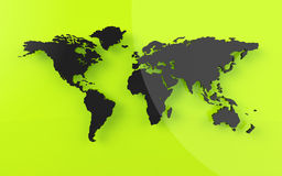 Beautiful world map in rendered  look Stock Photo