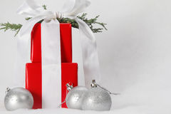Beautiful wrapped Christmas gifts Stock Photos