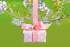 Beautiful wrapped gift box with spring sakura blossoms Stock Photo