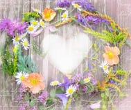 Beautiful wreath of wildflowers from Carpathian Valleys. stock photo