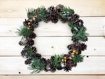 Beautiful wreath on the wooden background Royalty Free Stock Images