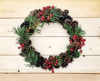 Beautiful wreath on the wooden background Stock Photos