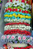 Beautiful wreaths of artificial flowers and berries royalty free stock image