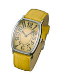 Beautiful yellow wristwatch isolated  Stock Photo