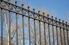 Beautiful wrought fence. Image of a decorative cast iron fence. metal fence close up. Metal Forged Fence Stock Photo