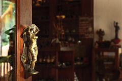 Beautiful wrought iron sculpture door handle Stock Images
