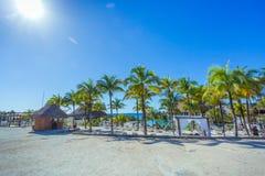 Beautiful Xcaret beach. Cancun, Mexico. Cancun, Mexico Beautiful Xcaret beach in february Royalty Free Stock Photos