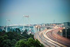 Beautiful xiamen haicang bridge in nightfall Stock Photos