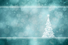 Beautiful Xmas tree snowy turquoise greeting card Royalty Free Stock Photos