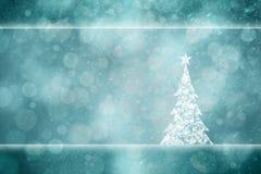 Beautiful Xmas tree snowy turquoise greeting card Royalty Free Stock Photos