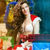 Beautiful xmass brunette Stock Images