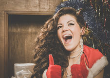 Beautiful xmass brunette Stock Photography
