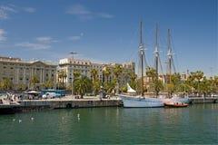 Beautiful yacht. In Barcelona port Stock Photos