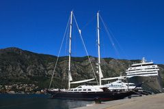 Beautiful yacht and cruise ship in the port of Kotor. Montenegro Stock Photography