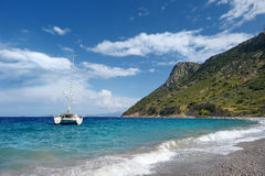 Beautiful yacht in mediterranean sea Royalty Free Stock Photography