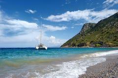 Beautiful yacht in mediterranean sea Stock Photography