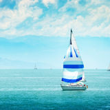 Beautiful yacht at sea. Stock Photo