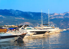 Beautiful yacht on the shore of the city of Budva Royalty Free Stock Image