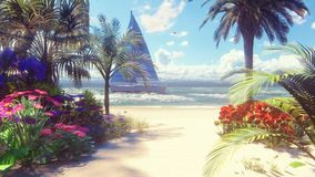Beautiful yacht swims past the beautiful beach, washed by the ocean wave. Beautiful loop 3D animation.