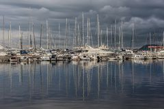 Beautiful yachts in bay Stock Photos