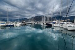 Beautiful yachts in bay Royalty Free Stock Image